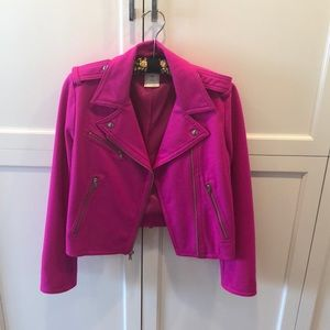 Gap hot pink wool blend moto jacket